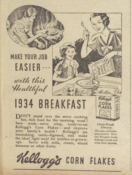 Corn Flakes advertising 1934