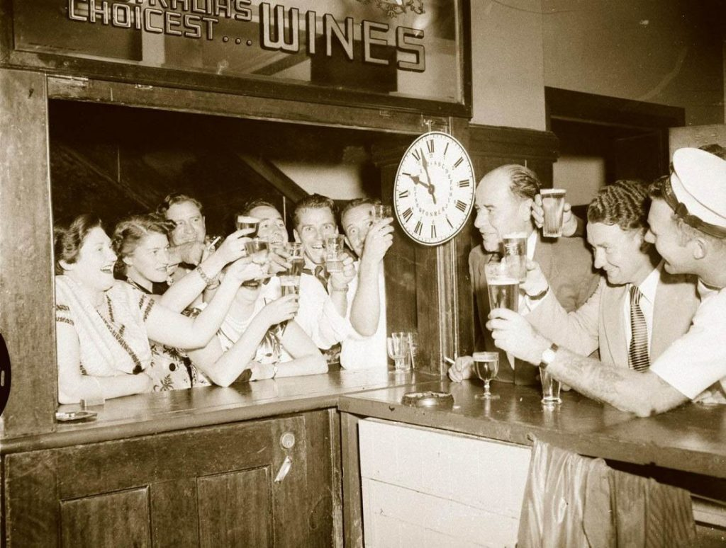 Toasting introduction of 10 o'clock closing