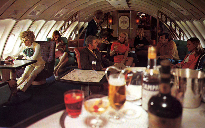 Overseas travel for Qantas first class passengers included access to the Captain Cook Lounge on the upper level of the 747 Jumbo