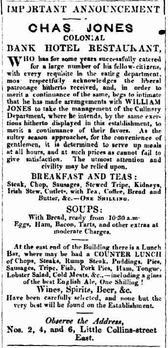 Counter lunch advertising 1858